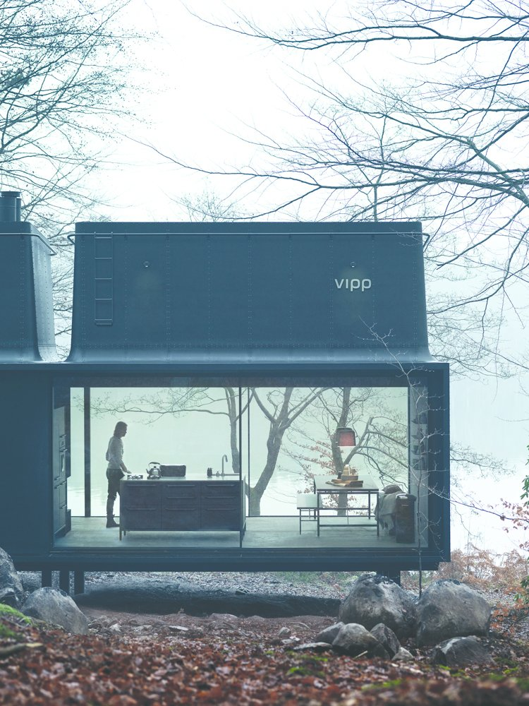 In 2015, Vipp introduced a 592-square-foot prefab unit called Shelter. It's equipped with a freestanding island from the brand's kitchen line.  Modern Winter Retreats from Turns Out Matte-Black Kitchens Are Fool-Proof
