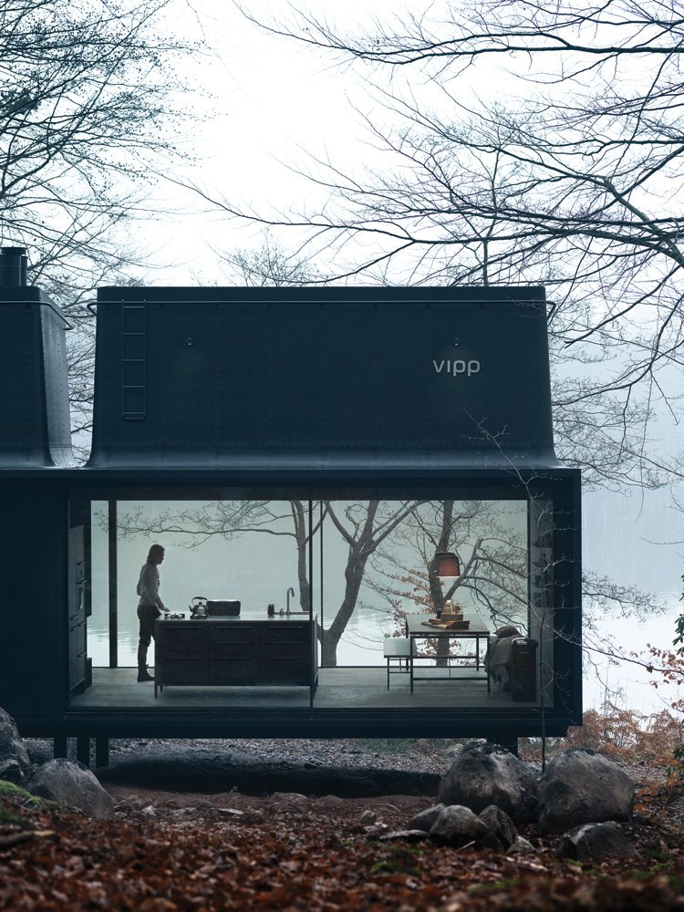 Exterior, Glass Siding Material, Metal Siding Material, Cabin Building Type, Prefab Building Type, and Metal Roof Material For 2015, Vipp, the Danish industrial design company known for its iconic trash cans and all-black kitchens, introduces a 592-square-foot prefab unit called Shelter.  Prefab from Prefab Gets a Makeover With Danish Industrial Design
