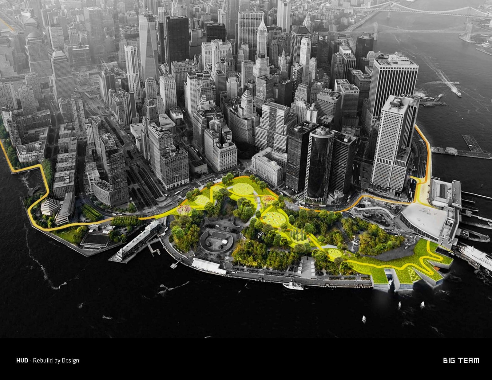 The Big U is the firm's ambitious plan to protect Manhattan from a Sandy-like hurricane by ringing the lower half of the island with 10-foot, sculptural berms.  Photo 2 of 8 in Exhibit Showcases 10 Years of the Bjarke Ingels Group's Architecture