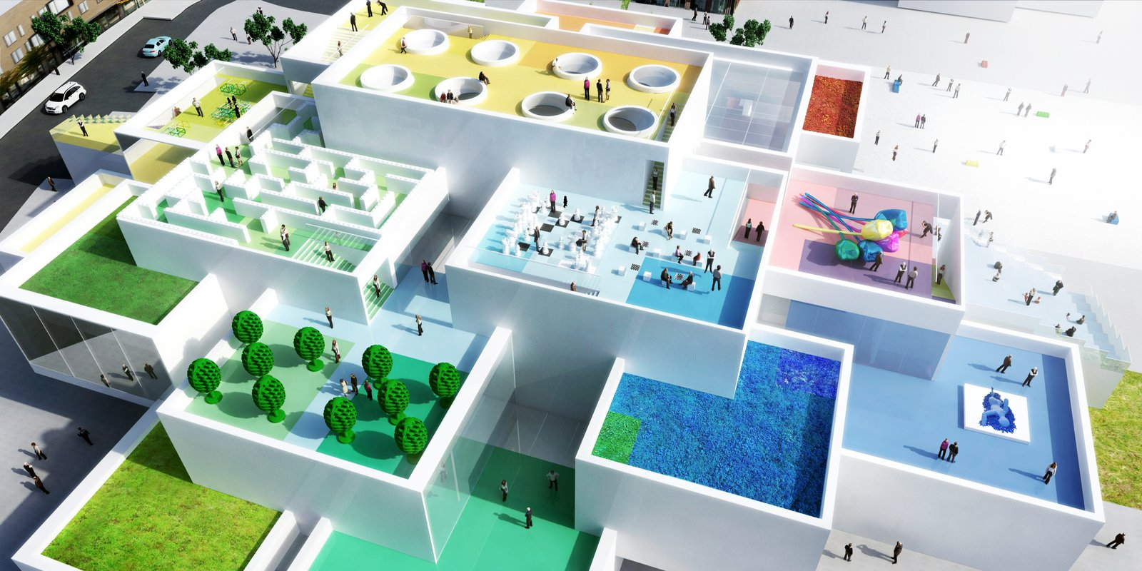 "The firm created the model for the Lego House in Billund, Denmark, with—what else?—Lego blocks. The building, conceived as a ""hands-on, minds-on experience center,"" is scheduled to be completed in 2016.  Photo 3 of 8 in Exhibit Showcases 10 Years of the Bjarke Ingels Group's Architecture"