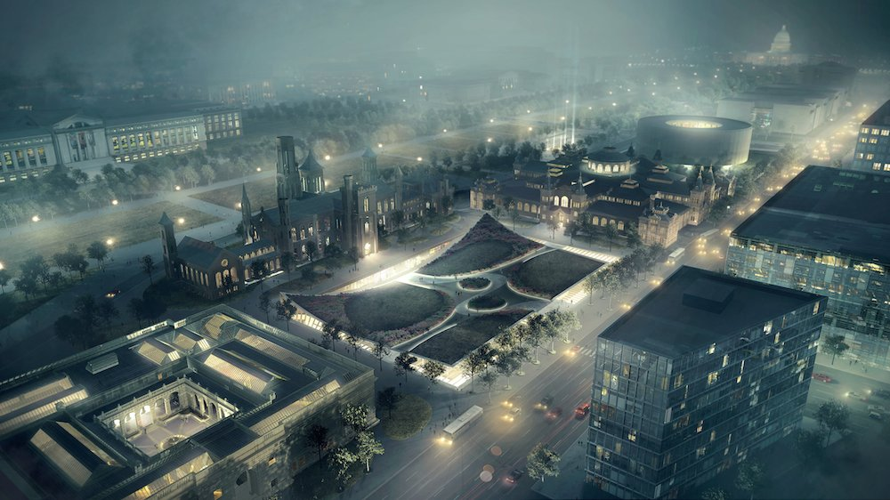 This illuminated evening view shows how the proposed raised entryways for the Sackler Gallery and the National Museum of African Art would slightly bend and contort the Haupt Garden, creating a sort of tabbed topography.  Photo 4 of 8 in Exhibit Showcases 10 Years of the Bjarke Ingels Group's Architecture from BIG Presents New Vision for Smithsonian Campus in Washington