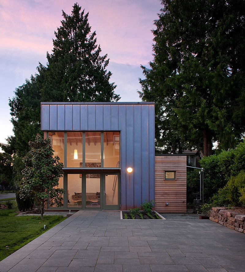 When the Zimmerman family settled in Seattle, Washington, in the late 1990s they bought a 1,100-square-foot Craftsman built in the 1920s. Fast-forward to today. Not wanting to leave their beloved neighborhood, but hurting for space, they enlisted the help of local design-build firm Ninebark to create a separate living area. Working from sketches that the residents had from their uncle, Gary Schoemaker, an architect in New York, Ninebark realized a refined structure that serves as a playroom, office, and guesthouse for visitors, complete with a kitchenette and full bathroom.  Photo 4 of 4 in Garden Pavilion, Seattle
