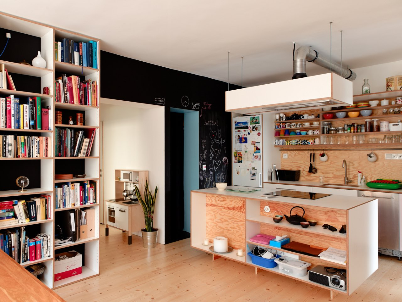 Kitchen, Wood Cabinet, and Range Hood Architecture firm Gut Gut designed a modular shelving system out of plywood that gets repeated throughout the apartment. Here, the kitchen island with induction cooktop and the bookshelves are clearly from the same family without looking like twins. A green Dish Doctor by Marc Newson for Magis adds a splash of color next to the sink and a chalkboard wall creates space to play.  Chalkboard Walls in Kitchens and Kids' Rooms by Jaime Gillin from Live-Play Spaces at Home