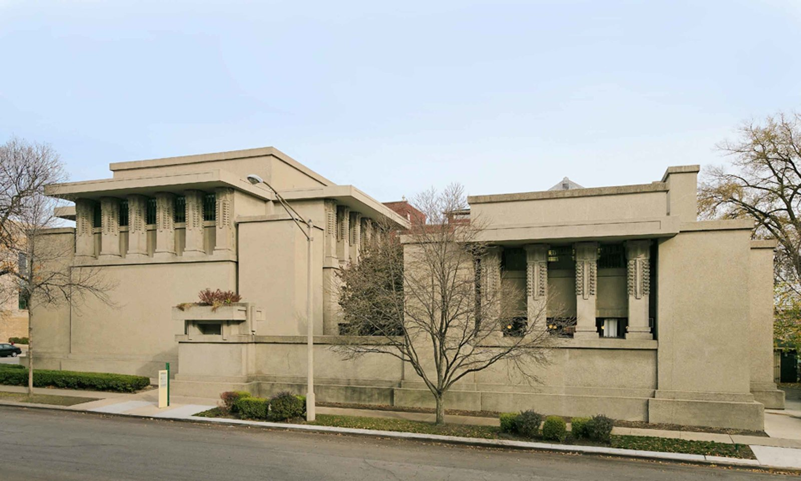 Unity Temple (1905, Oak Park, Illinois). This structure was one of the first public buildings to be made with affordable, poured-in-place reinforced concrete.  Iconic Frank Lloyd Wright Buildings by Allie Weiss