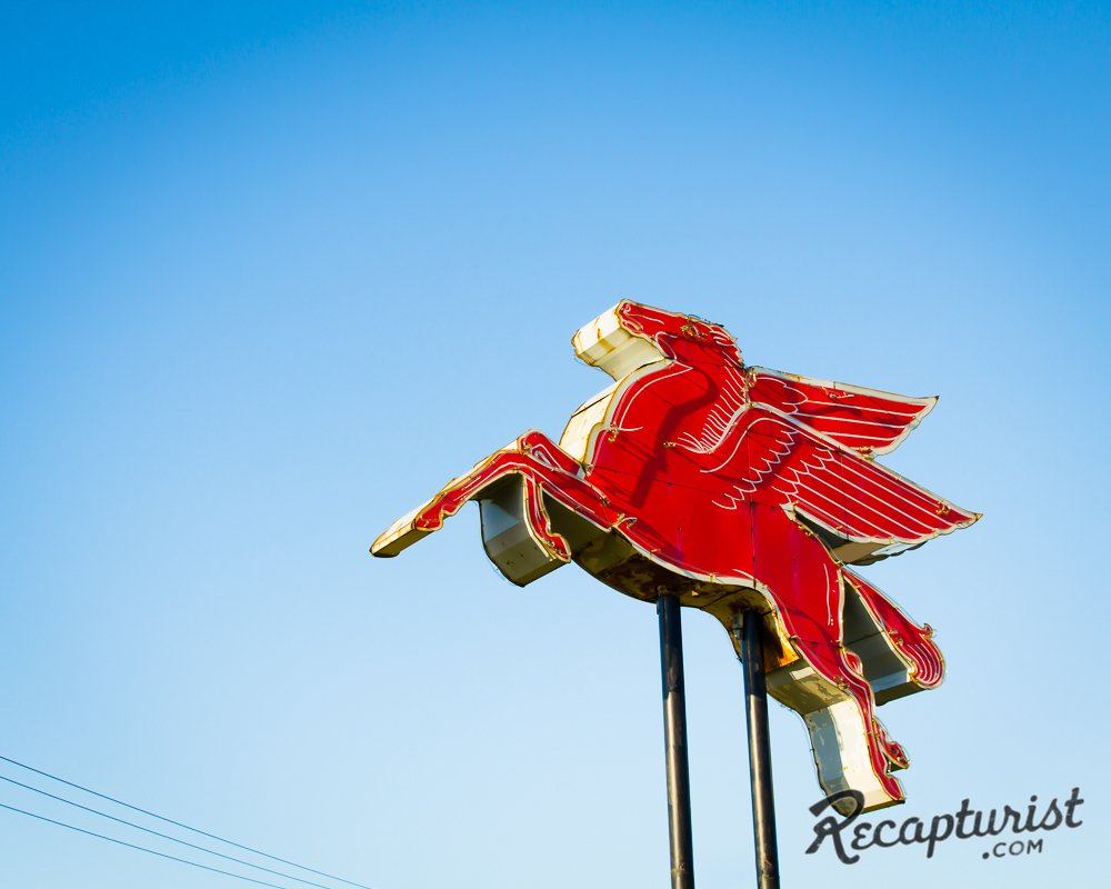 """This huge Pegasus can't be missed as you drive past the service station it soars in front of,"" Rose says. ""I tracked down the previous business owner and learned that his father had bought it from a shuttered Montana Exxon station in 1982 and that it most likely dates back to the '30s.""  Photo 4 of 9 in These Amazing Vintage Signs Are a Blast from America's Past"
