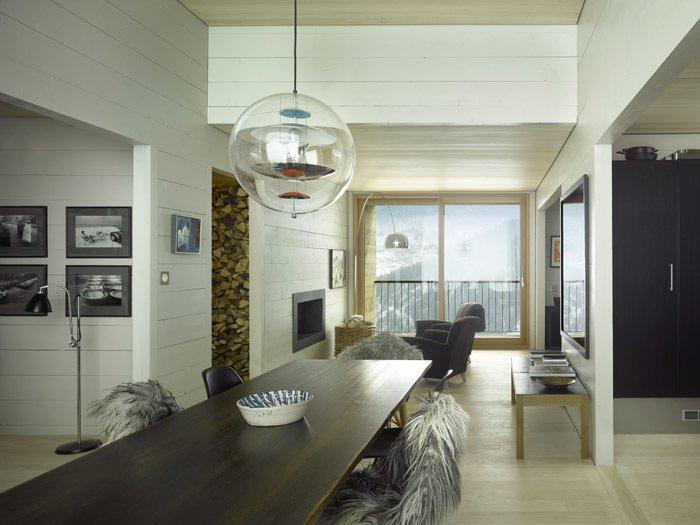 Inside pieces from iconic Danish designers range from Arne Jacobsen, Werner Panton, Børge Mogensen, Hans Wegner and Finn Juhl. Photo by Martin Guggisberg via Bergdorf AG.  Modern Winter Retreats