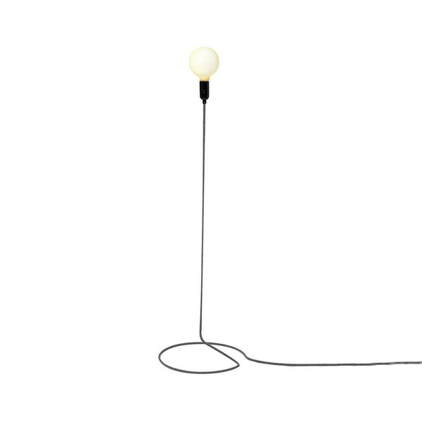 The cord—usually the afterthought of any lamp—shines in this simple, clever lighting solution. Supported by a near-invisible clear frame, the orange cord offers shade, base, and power to this unexpected piece. You can find this minimalist fixture here.