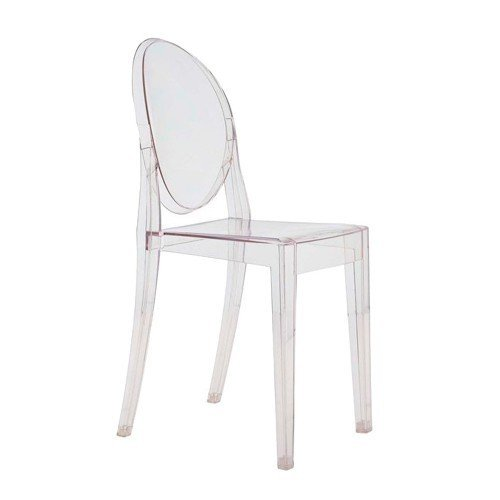 VICTORIA GHOST CHAIR  A chair designed following the classic lines of the Louis Ghost chair. Victoria Ghost Chair is born of classic lines whose rounded backrest recalls the shape of antique medallions, while the seat is linear and geometric. It features a construction of transparent, colored polycarbonate and is formed from a single injection mold.