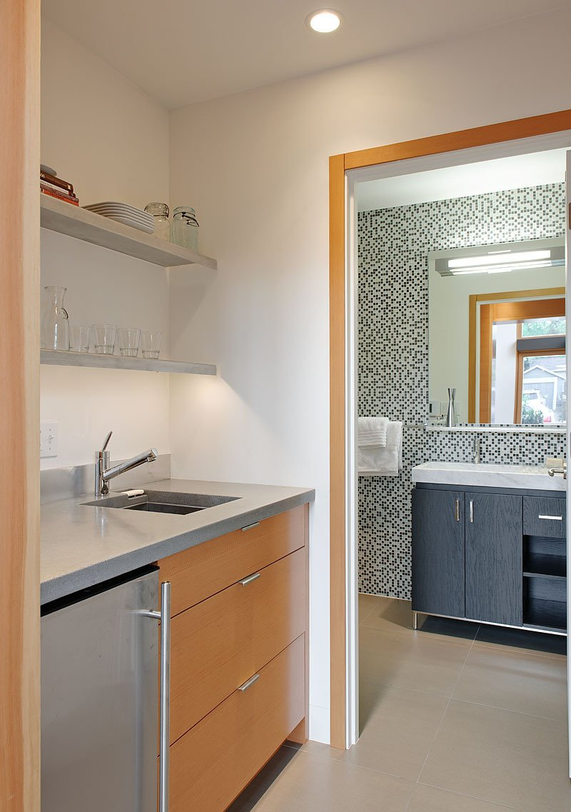 Bath Room and Marble Counter The kitchenette countertops are made from recycled concrete. The bathroom tile is by Pental.  50+ Modern Tile Ideas for Walls, Floors and Ceilings by William Lamb