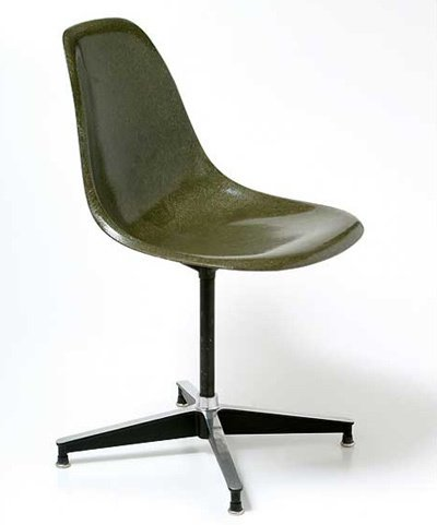 Charles and Ray Eames are two of the most famous chair designers in the world. Their contribution to modern chair design is unparalleled. The Shell chair, which was one of the first industrially-manufactured plastic chairs, comes in a wide variety of styles, including a version with an armrest and an office version (pictured here).  Photo 1 of 1 in Simple, Not Easy: The Eames Shell Chair