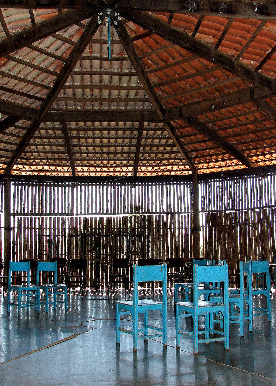 Interior view of the community hall in Cerrado Church, Uberlândia, Minas Gerais (1976–82). Photo by author Zeuler R. Lima.  Photo 8 of 10 in A Look Back at Lina Bo Bardi