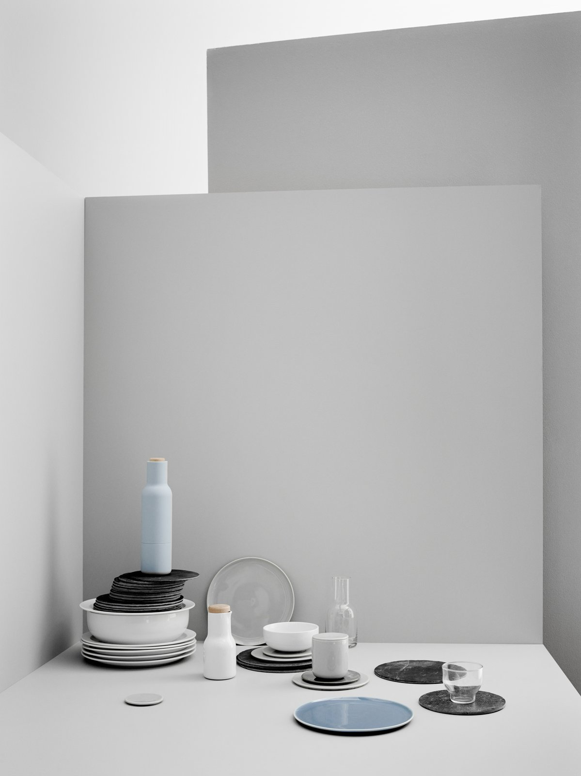 The Norm Dinnerware Collection for Copenhagen restaurant Höst is defined by its simple silhouettes, evocative color palette, and versatility. It includes plates, bowls, and glassware.