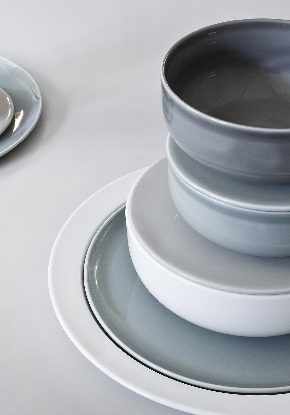 """A close-up on the Norm Collection for Höst reveals the refined glazes and Scandinavian color palette.  Search """"norm lunch plate"""" from Modern Wares by Norm Architects Make Us Fall in Love with Scandinavian Design All Over Again"""