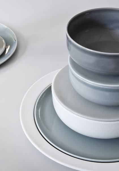 A close-up on the Norm Collection for Höst reveals the refined glazes and Scandinavian color palette.