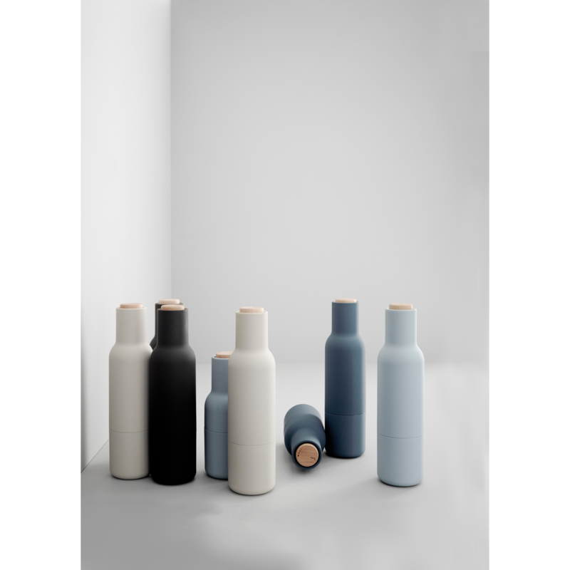 Cast in similar colors to the Norm Dinnerware collection, these Bottle Grinders are shaped like small bottles, giving them a distinctive look that sets them apart from more traditional shaker sets.