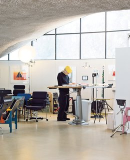"""Kukkapuro and his wife built the house with the intention of living in the studio so it would be """"no problem for us to bring work home."""" Near his standing desk are a few forays into pressed plywood and tube-metal construction, produced after the oil crisis of 1973 forced him to abandon fiberglass and plastics."""