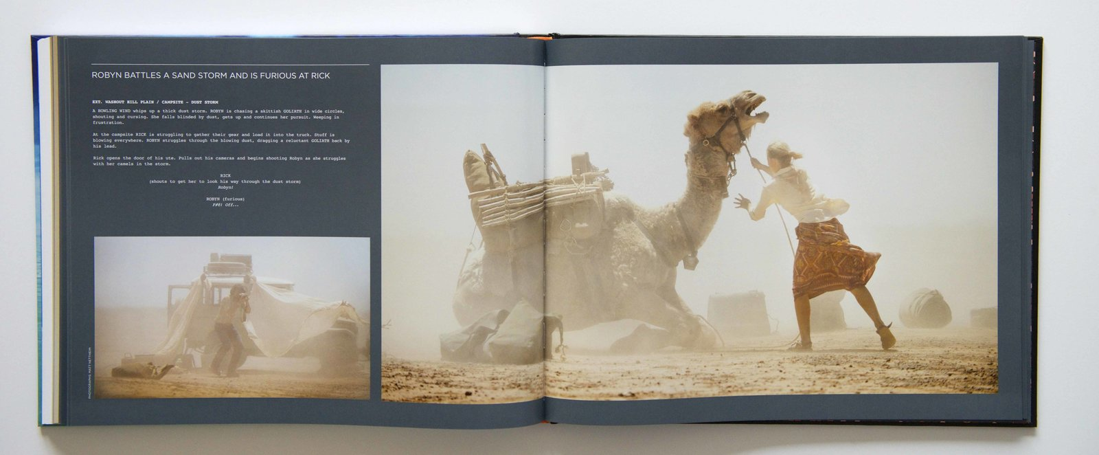 A spread from Inside Tracks featuring images from the film, Tracks.  Photo 3 of 3 in Travel Across the Australian Outback with This Book