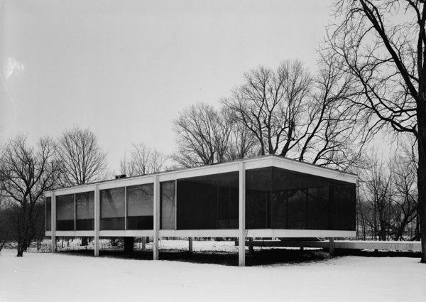 Over 50 miles outside of Chicago, one of Mies's most famous commissions, the Farnsworth House, lies. The one-room weekend retreat, built of steel and glass, is representative of the International Style. It was designated a National Historic Landmark in 2006.
