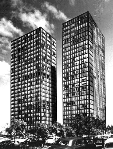 Exterior of Mies van der Rohe's Lake Shore Drive apartments, circa 1951. Photograph by Richard Nickel.  buildings from Harboe's Marks