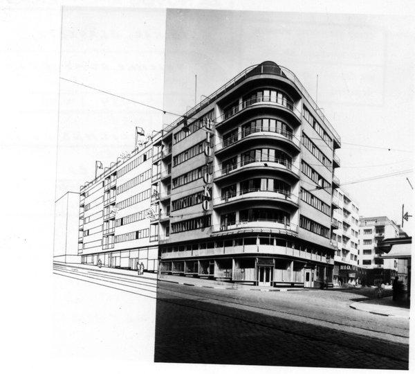 A block of flats next to the Bio Oko Cinema, Prague.