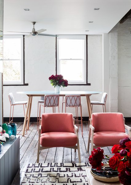 A close-up of the front living room, with Jardan armchairs which are designed and made in Melbourne. Photo by Phu Tang.