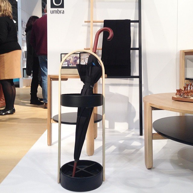 Just what the weather ordered: a handsome umbrella stand by Umbra.  Home Design Finds from NYNow 2015 by Diana Budds