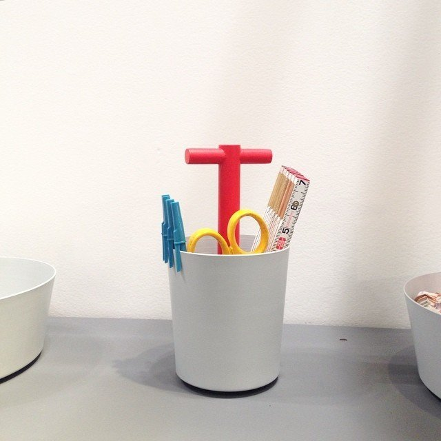 A handy desk caddy by Brooklyn-based Good Thing.  Home Design Finds from NYNow 2015 by Diana Budds