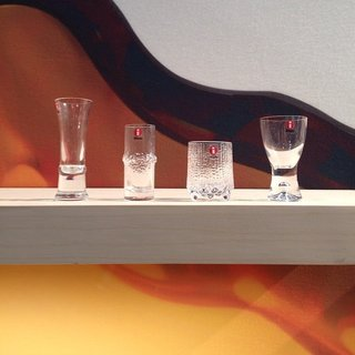 2015 marks Tapio Wirkkala's centenary and Iittala is introducing pieces from its archive into production in honor of the milestone. The Finnish designer worked with the glass manufacturer for four decades, each of which is represented here by a shot glass. From left to right: the 1980s, 1970s, 1960s, and 1950s.