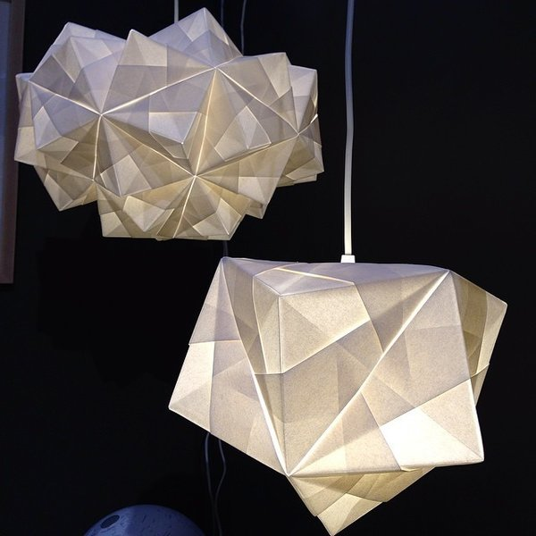 The Petra and Maya pendants made from Italian parchment by UK-based brand Foldability.