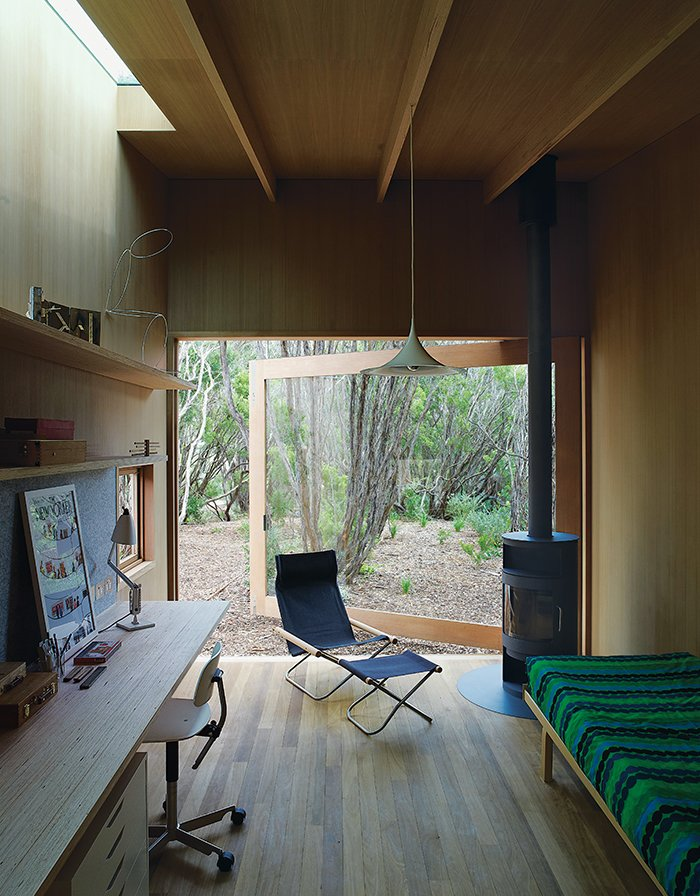 Doors, Swing Door Type, Exterior, and Wood The wood stove is the Rondo model by Rais.  Photo 9 of 9 in Local Wood Clads Every Surface of This Idyllic Australian Getaway