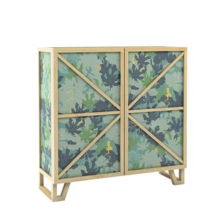 Tudor Low cupboard by Joost & Kiki for Moooi, $5,150. An ash frame holds fabric panels printed with a botanic pattern renimiscent of Henri Rousseau's paintings. Available in blue, red, and green (shown).
