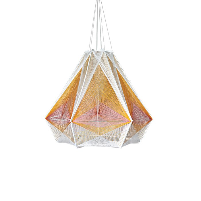 Julie Lansom weaves different hues of cotton thread around a wood frame to fashion her intricate Sputnik lights.  60+ Modern Lighting Solutions by Dwell from Design Trend to Watch: 3-D Weaving