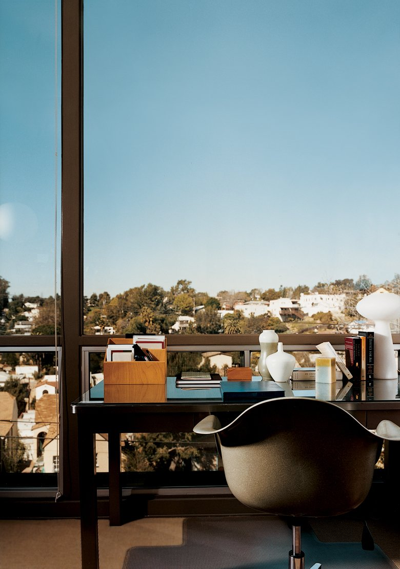 Office A well-placed writing desk takes advantage of the view.  Photo 13 of 15 in Eric Garcetti's Green Home Remodel