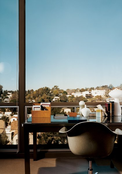 A well-placed writing desk takes advantage of the view.