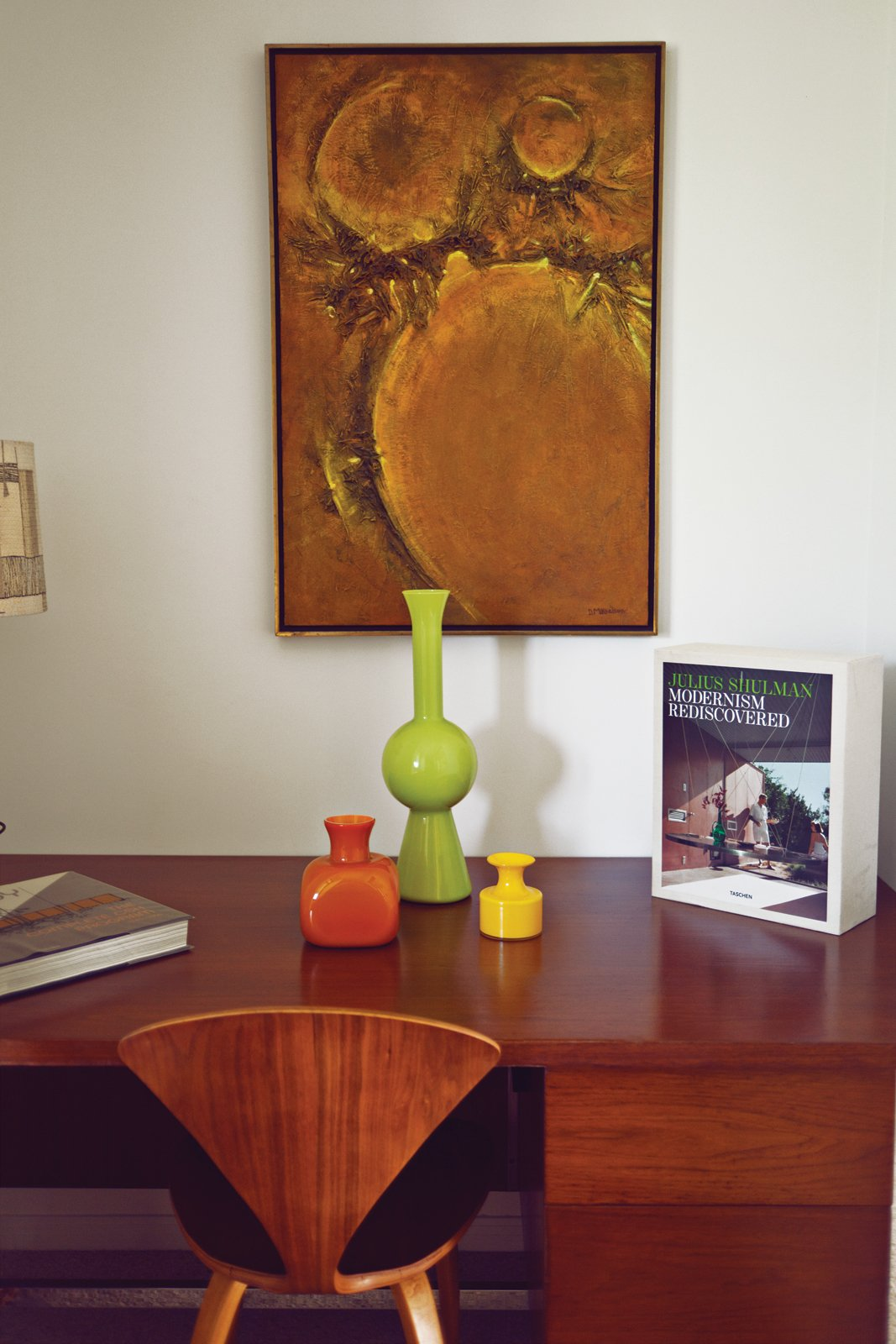 Tucked into one end of the house, a desk by Florence Knoll displays Stacey's mid-century pottery.  Photo 12 of 15 in Modern Home in a California Resort Town