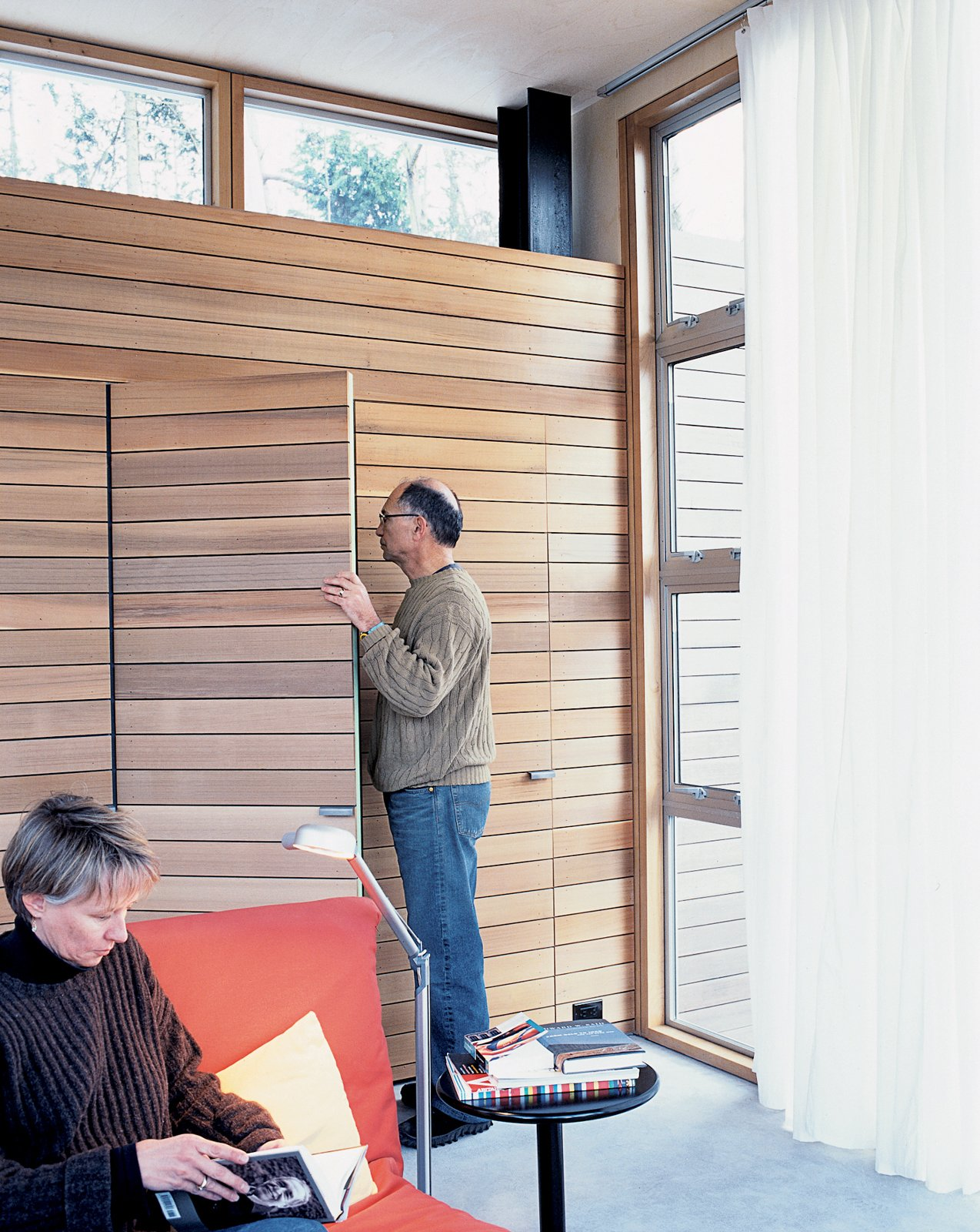 """In their search to find an alternative to drywall, the couple discovered this lightweight, nontoxic Italian poplar siding at a local lumberyard. """"The Seattle Opera uses it for stage sets, and the lumberyard carries a large amount of the product to outfit them,"""" says Pellecchia. Lite-Ply is about half the weight of conventional siding and can be fastened by staples. www.northamply.com/lite-ply.html  Storage Solutions: 7 Hidden Closets by Diana Budds"""