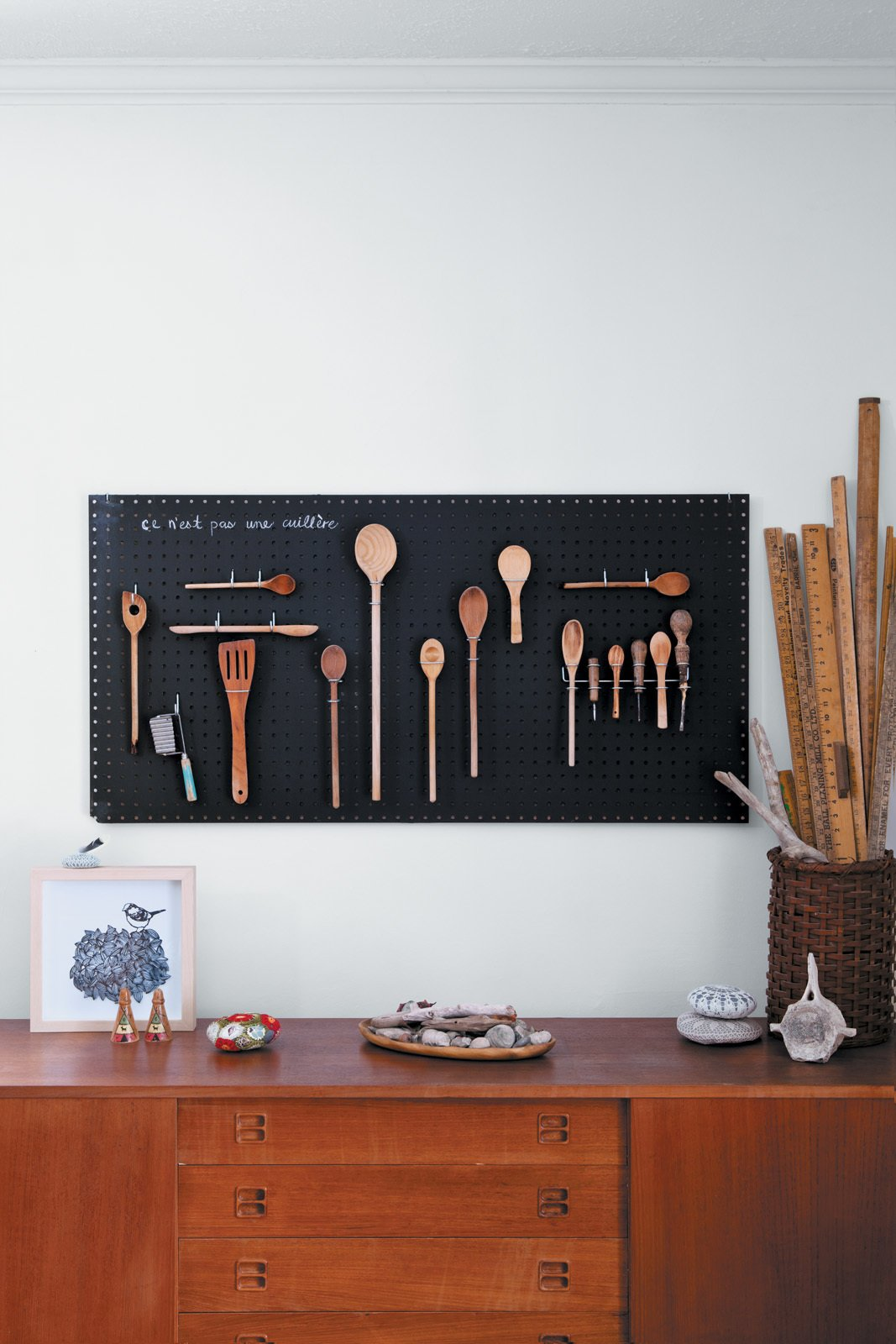 Storage Room and Cabinet Storage Type Margaret Oomen created the perfect pegboard sourcing inspiration—and got a can of chalkboard paint—from the aisles of Home Depot.  Chalkboard Walls in Kitchens and Kids' Rooms by Jaime Gillin from DIY Black Chalkboard Pegboard by Margaret Oomen