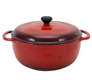 """""""I think a dutch oven is a great thing to have, somewhere between five and seven quarts,"""" Perelman says. This six-quart cast-iron pot, also from Lodge, is $59. """"An eight-quart dutch oven is good if you feel like you want to cook for crowds. Five quarts is great for like everyday meals for 4-6 people, but a bigger one will cover more things on the big side. I'm not saying you have to buy a Le Creuset; you'll be fine with whatever brand is in your budget. I would say that, though, if you have loving and adorable family members, for Christmas gifts it's a great time to ask for one. They're not usually break the bank on the gift scale. If a couple of people can get together it's a great present. With a skillet and a dutch oven, you can do a whole lot. After that, for me, the next essential tool is a good wooden spoon."""""""