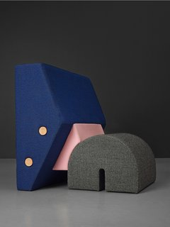 Studio OS & OOS (the Dutch duo of Sophie Mensen and Oskar Peet) idesigned the Memphis-reminiscent Keystone chair for PLEASE WAIT to be SEATED. Its postmodern silhouette breaks down the three basic elements of a roman bridge: spanners, building blocks, and keystone.