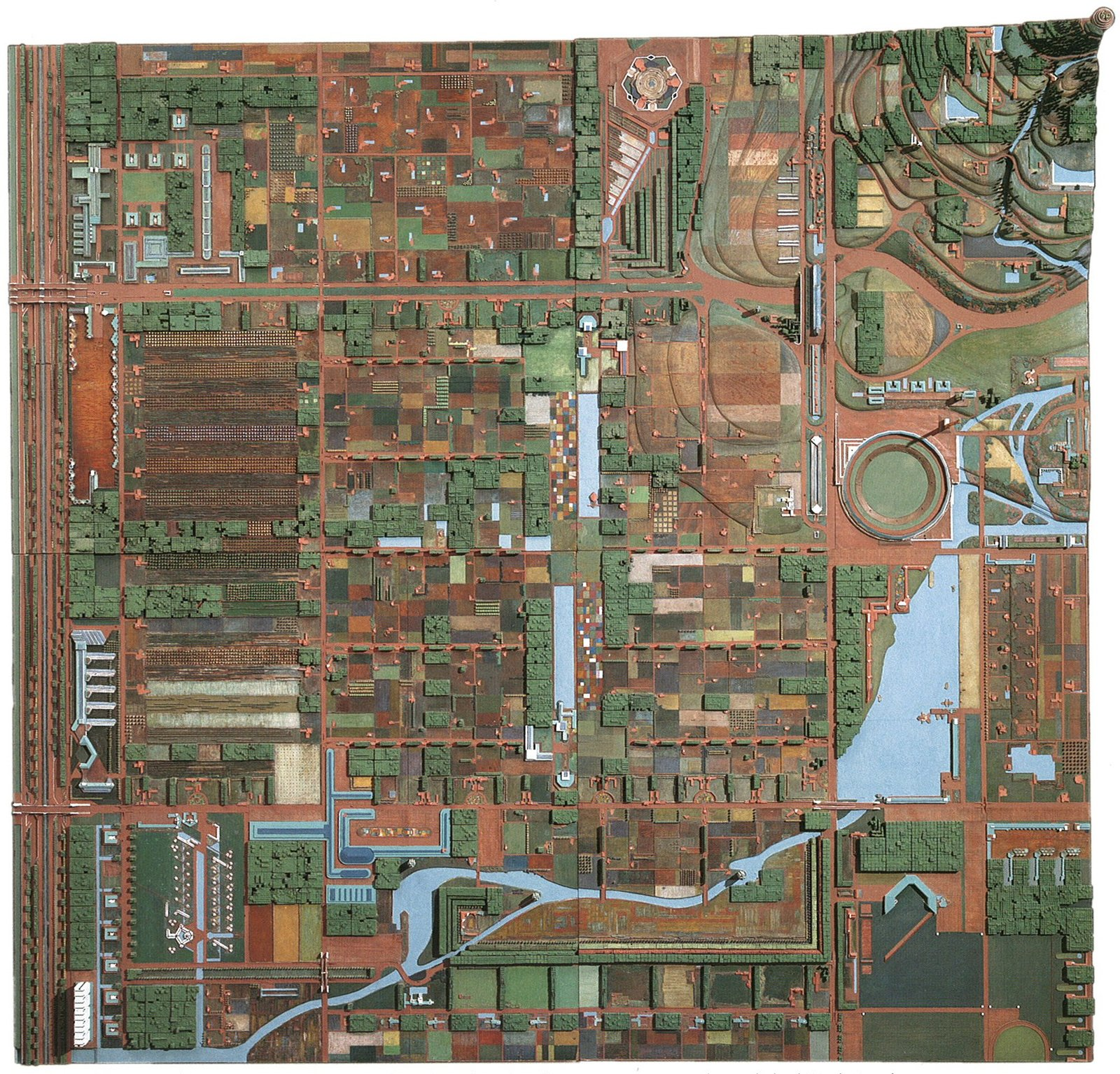 This is the painted model of Broadacre City, showing the amount of undeveloped land between residences. The Frank Lloyd Wright Foundation Archives (The Museum of Modern Art | Avery Architectural & Fine Arts Library, Columbia University, New York).  Modern Master: Frank Lloyd Wright