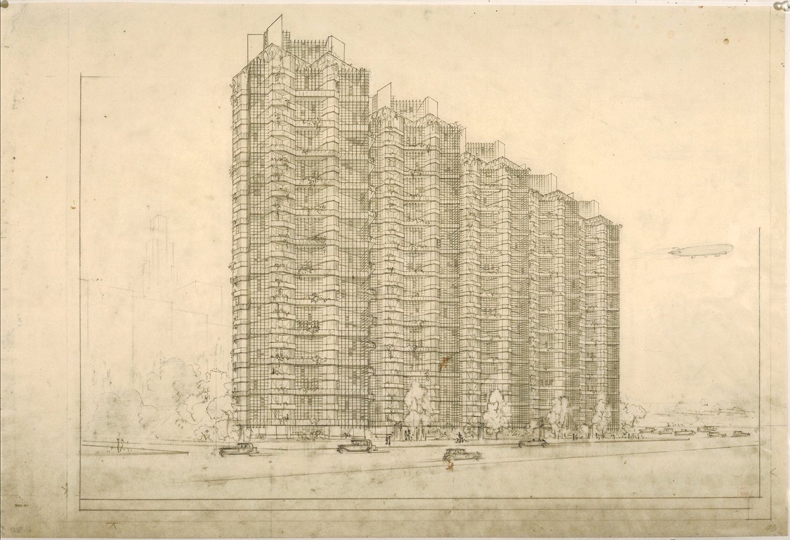 Although the Price Tower is Wright's only realized skyscraper, the rendering of the Grouped Towers in Chicago portrays similar themes of lightness and balance. The Frank Lloyd Wright Foundation Archives (The Museum of Modern Art | Avery Architectural & Fine Arts Library, Columbia University, New York).  Modern Master: Frank Lloyd Wright from The Museum of Modern Art: Frank Lloyd Wright Exhibition