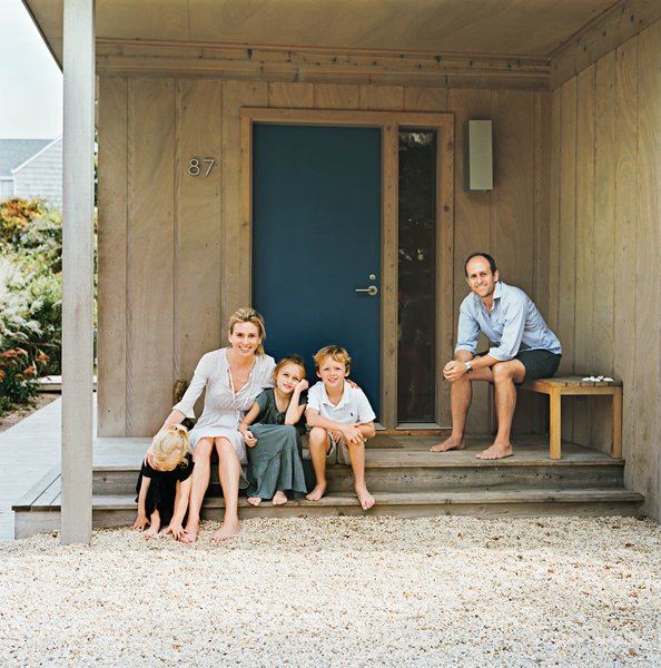 The color of the Fishers' front door was inspired by an old Land Rover Defender's hue, which Charlie had Benjamin Moore custom-match.