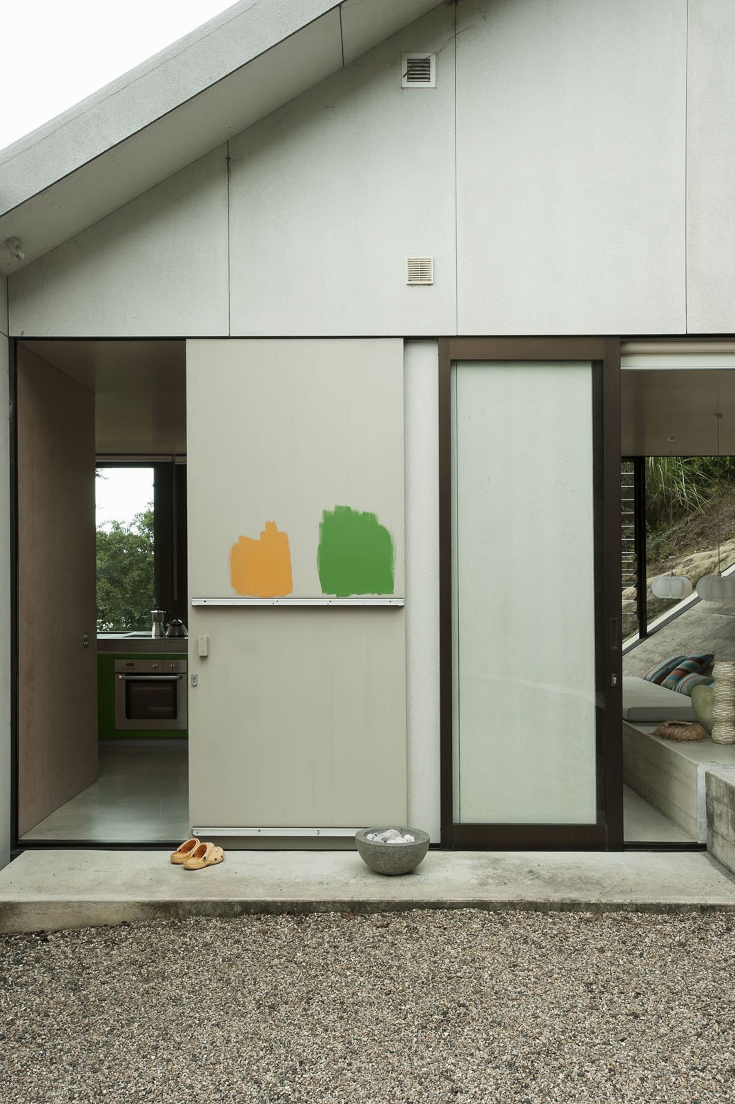 No better way to test paint colors than to simply apply them.  Photo 18 of 25 in Make Your Parents Happy by Building Them a House