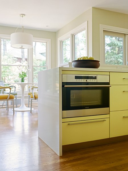 """A Wolf E-Series steam oven with convection capacity occupies the opposite end of the island. """"It's great,"""" Pacek says. """"You can steam a whole tray of vegetables at the same time, and it's very quick for reheating. Even though we have a built-in microwave, we often use this for reheating; it's just as quick."""""""