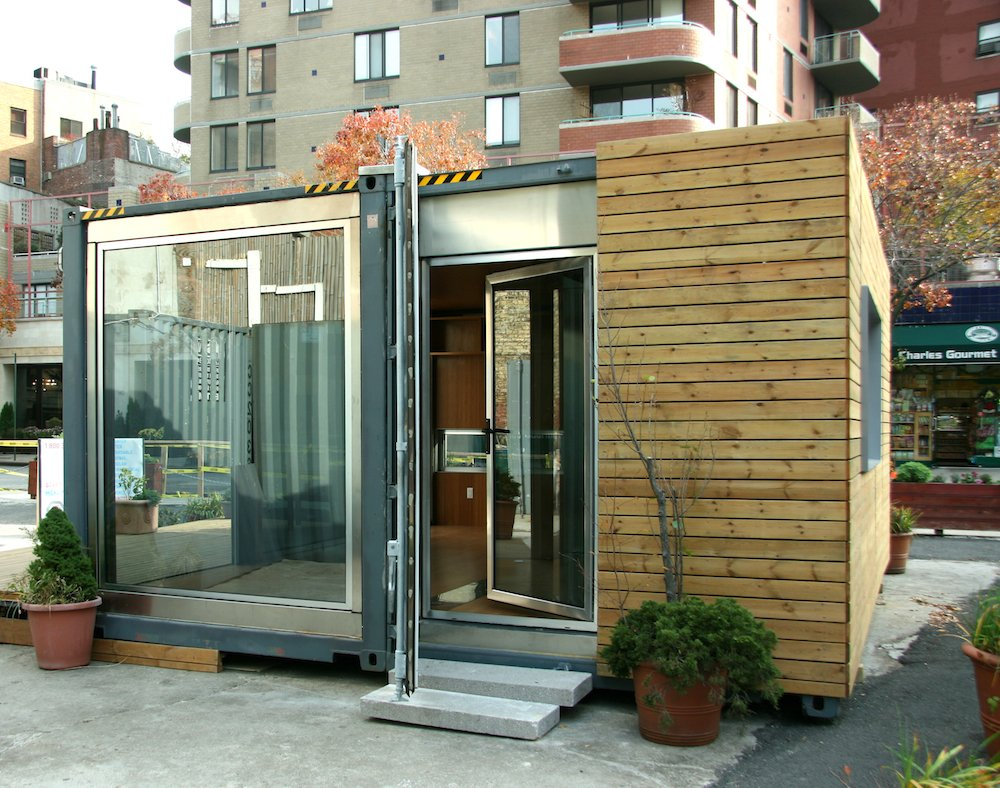 This shipping container prefab, built out of 70 percent recycled material, cost just $100 per square foot. It showcases a doubled glazed argon-filled window, which lets in light.  Shipping Containers by Dwell from Inexpensive, Easy-Assembly Shipping Container Home