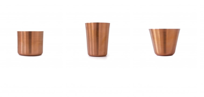Copper tumblers, from $32 each.