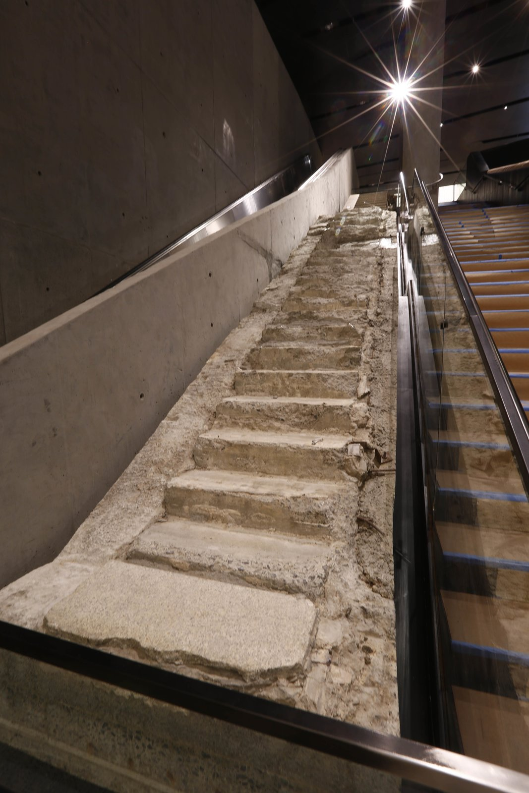 The Survivors' Stairs inside the National September 11 Memorial Museum.  Photo 6 of 14 in At Ground Zero Bedrock, the 9/11 Museum Prepares for Visitors