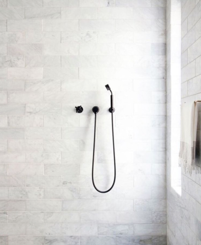 @emilylauren.au posted this pared-down bathroom with monochromatic matte fixtures by Chanee Vijay.  Bathroom from Spotted on Instagram: Five Totally Different Styles for Your Bathroom