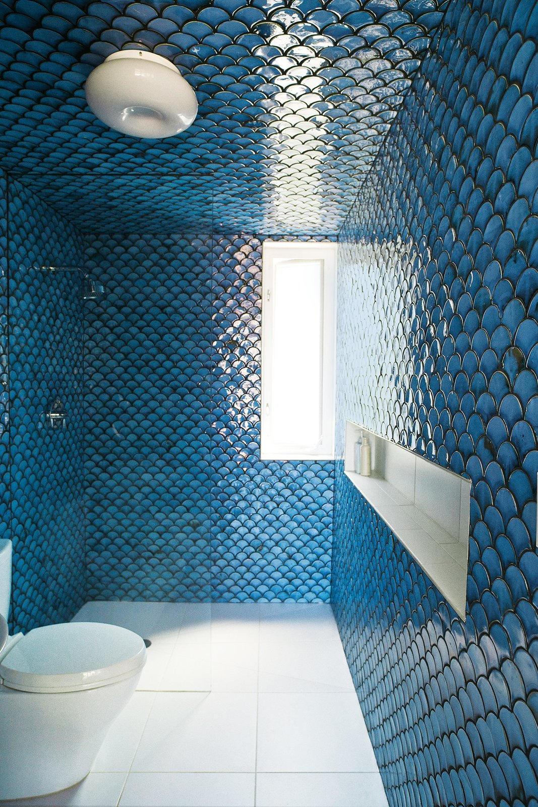 Bath Room, Ceiling Lighting, Enclosed Shower, Ceramic Tile Wall, One Piece Toilet, and Porcelain Tile Floor In the upper-level bathroom, tiles painstakingly fired by DeSimio cover the walls and ceiling.  Bathroom from A Brooklyn Couple Rehabilitate a 19th-Century Duplex