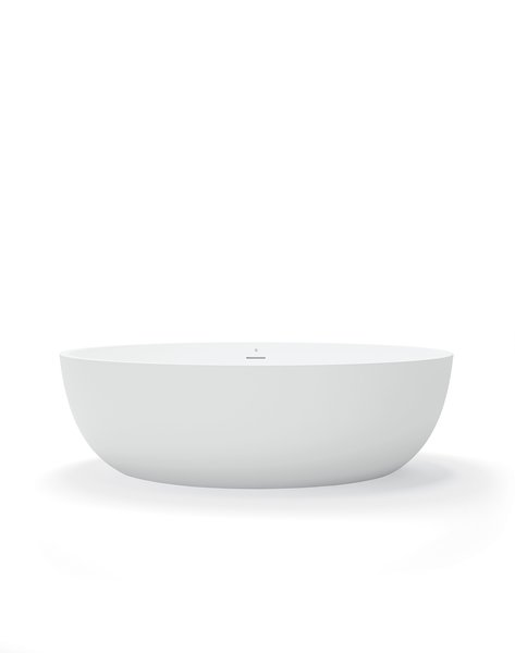 Made from injection-molded BluStone - a durable quartzite that's nonporous, anti-microbial, and stain- and scratch-resistant - the tub is available in a glossy or matte finish.